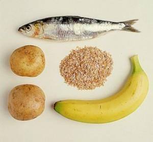 Содержание в продуктах питания: картофель, рыба, банан