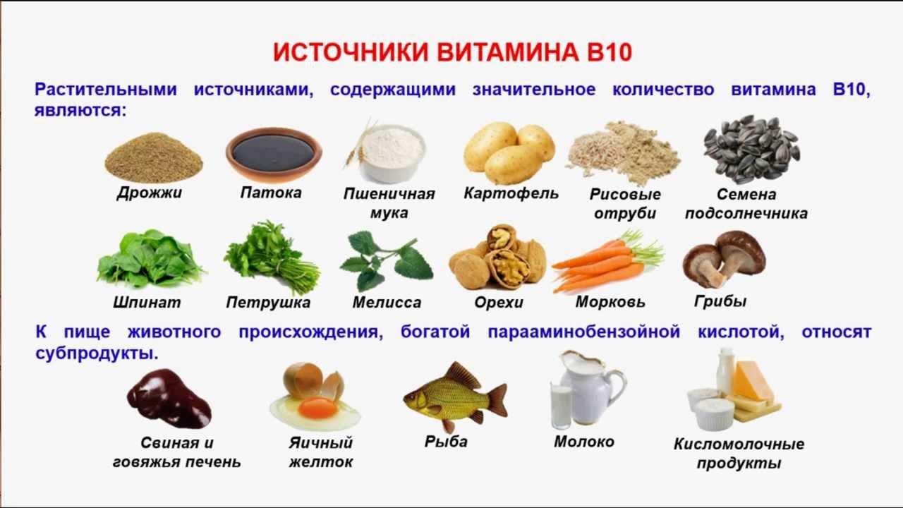Источники витамина b10